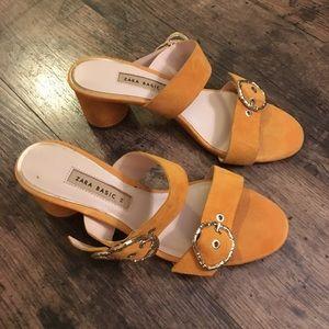 ZARA yellow suede sandals size 38
